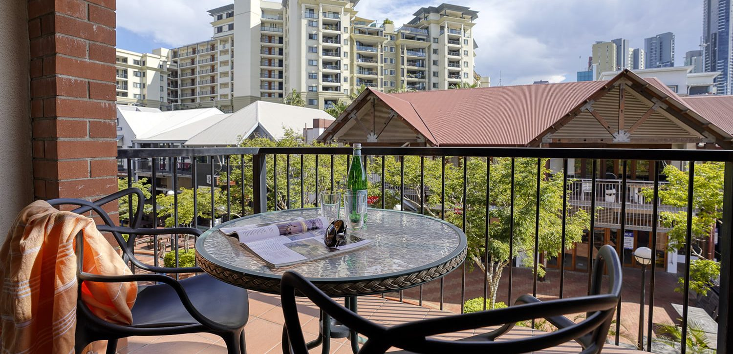 fortitude-valley-accommodation-one-bedroom-apartment-balcony-view | Central Brunswick Apartment Hotel